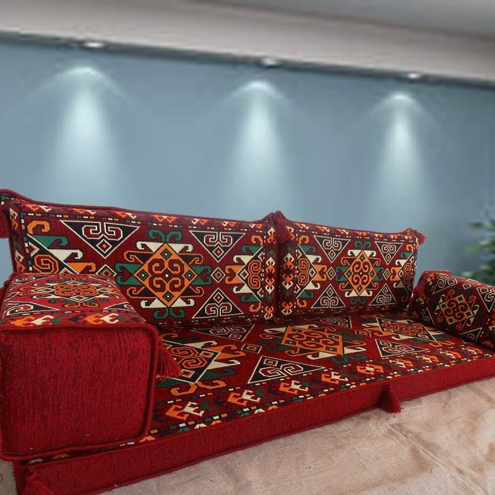 Nuzi Burgundy Three Seater Majlis Floor Sofa Couch