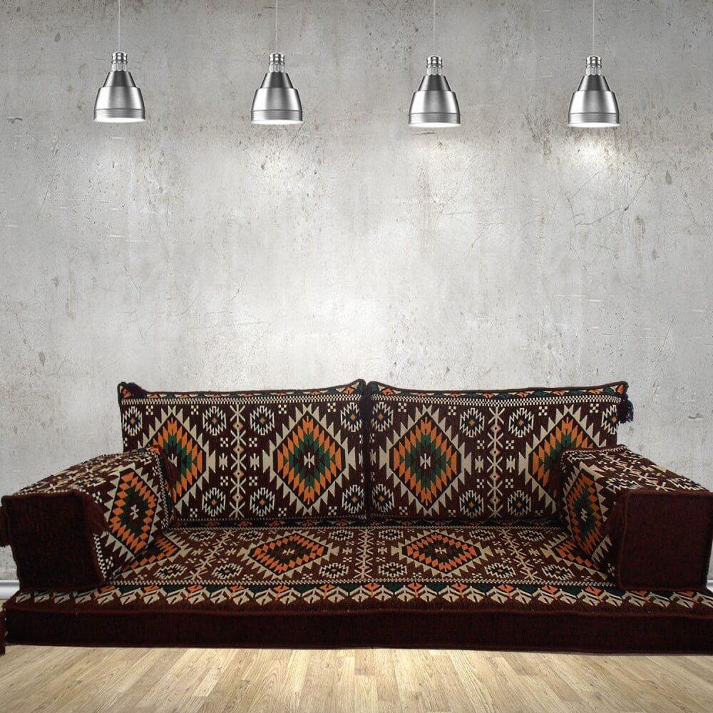 Gilgamesh Brown Three Seater Majlis Floor Sofa Couch