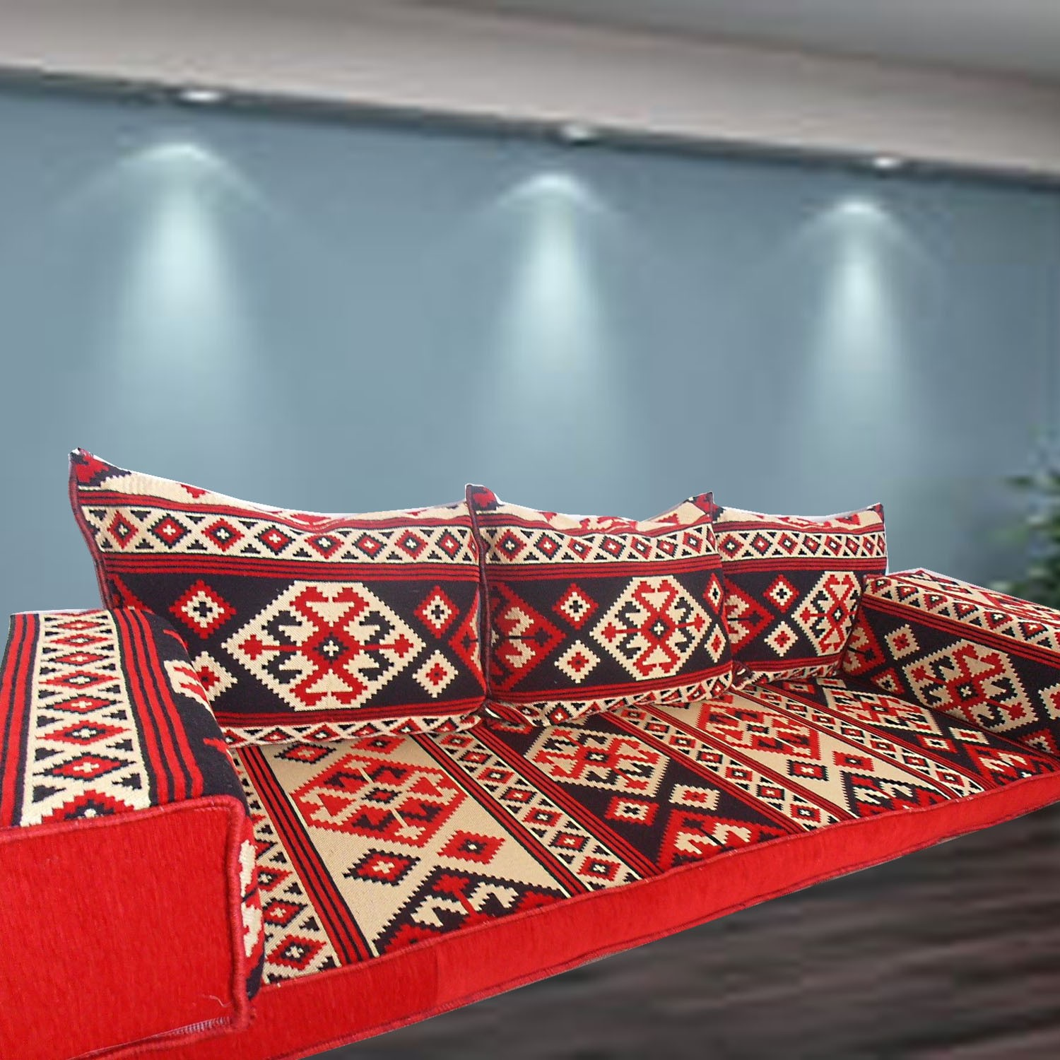 Floor sofa with triple back pillows - SHI_FS312