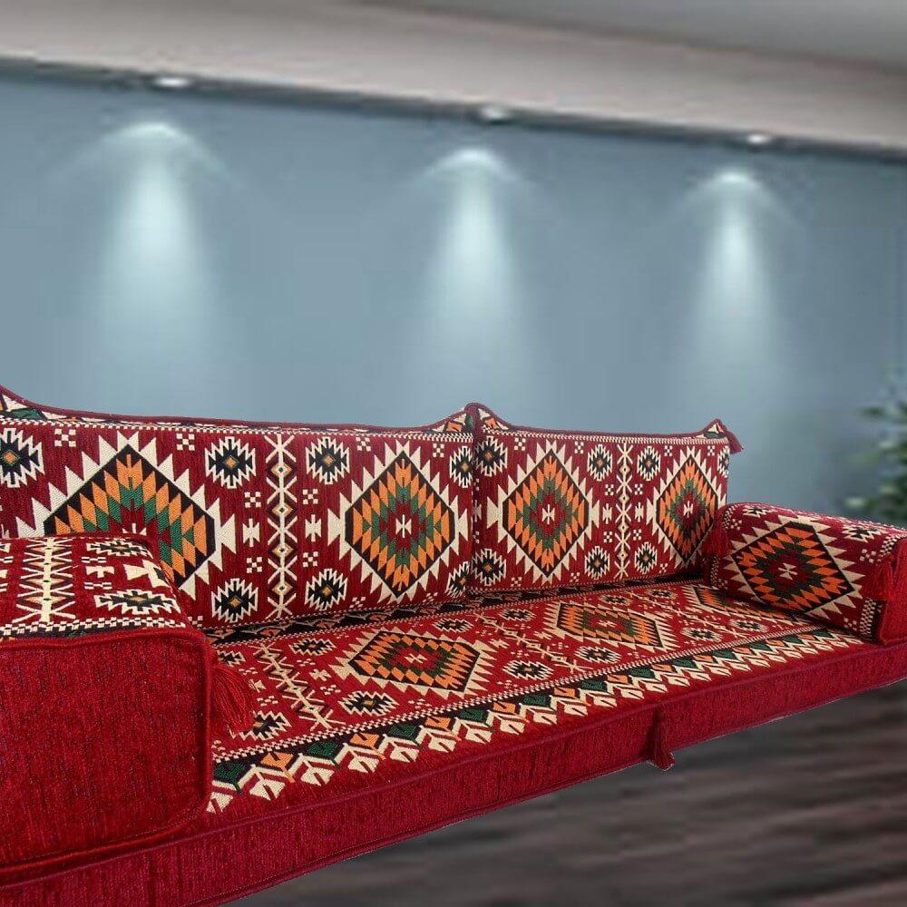 Gilgamesh Red Three Seater Majlis Floor Sofa Couch