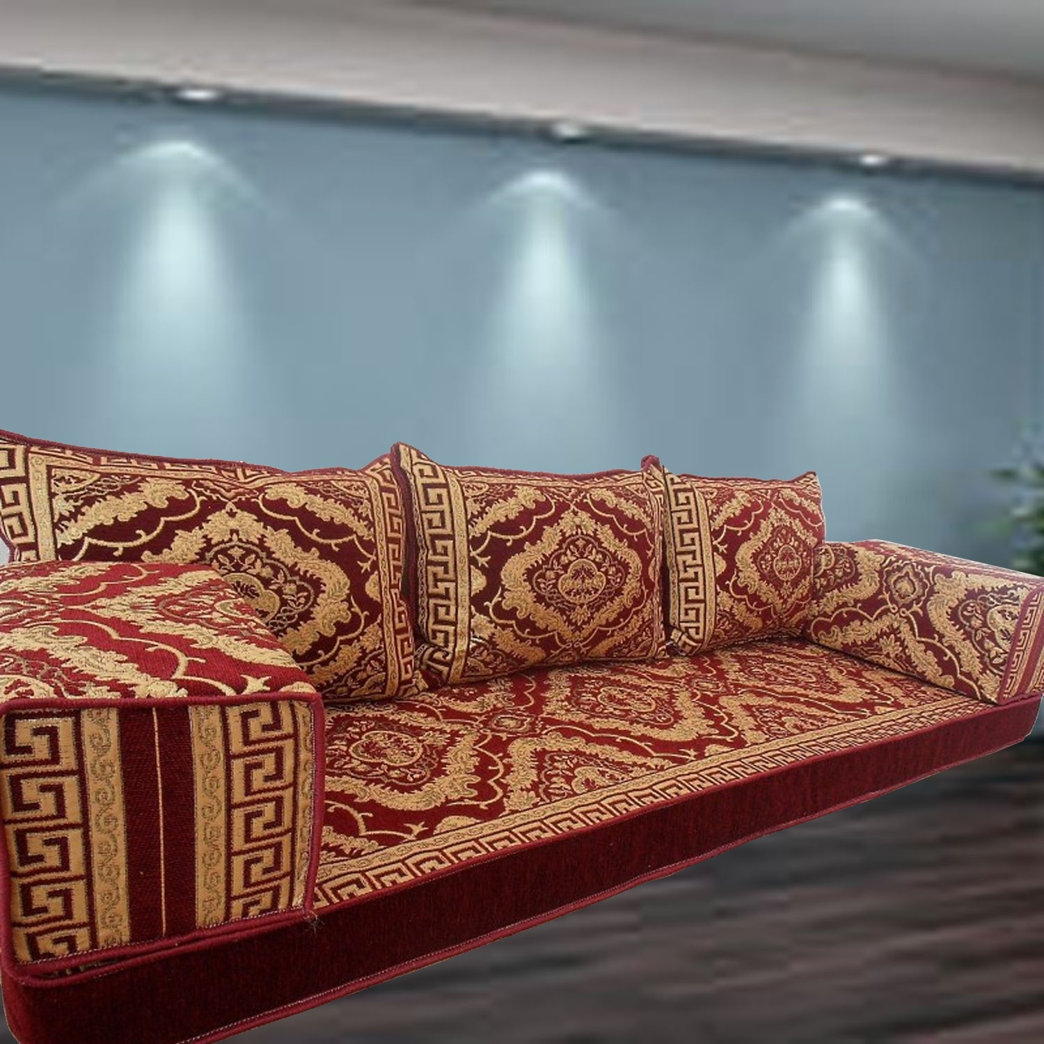 Floral-3 Three Seater Majlis Floor Sofa Couch