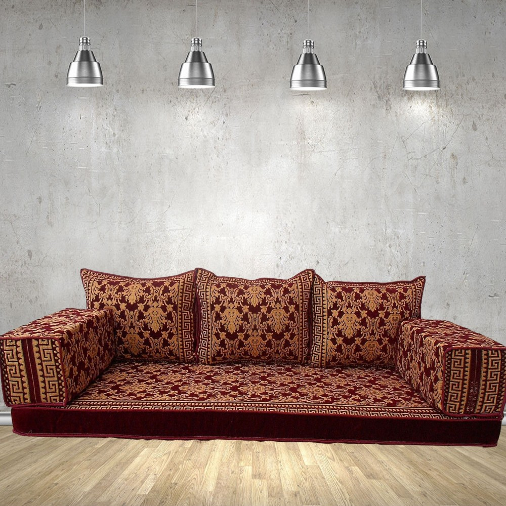 Floral-2 Three Seater Majlis Floor Sofa Couch