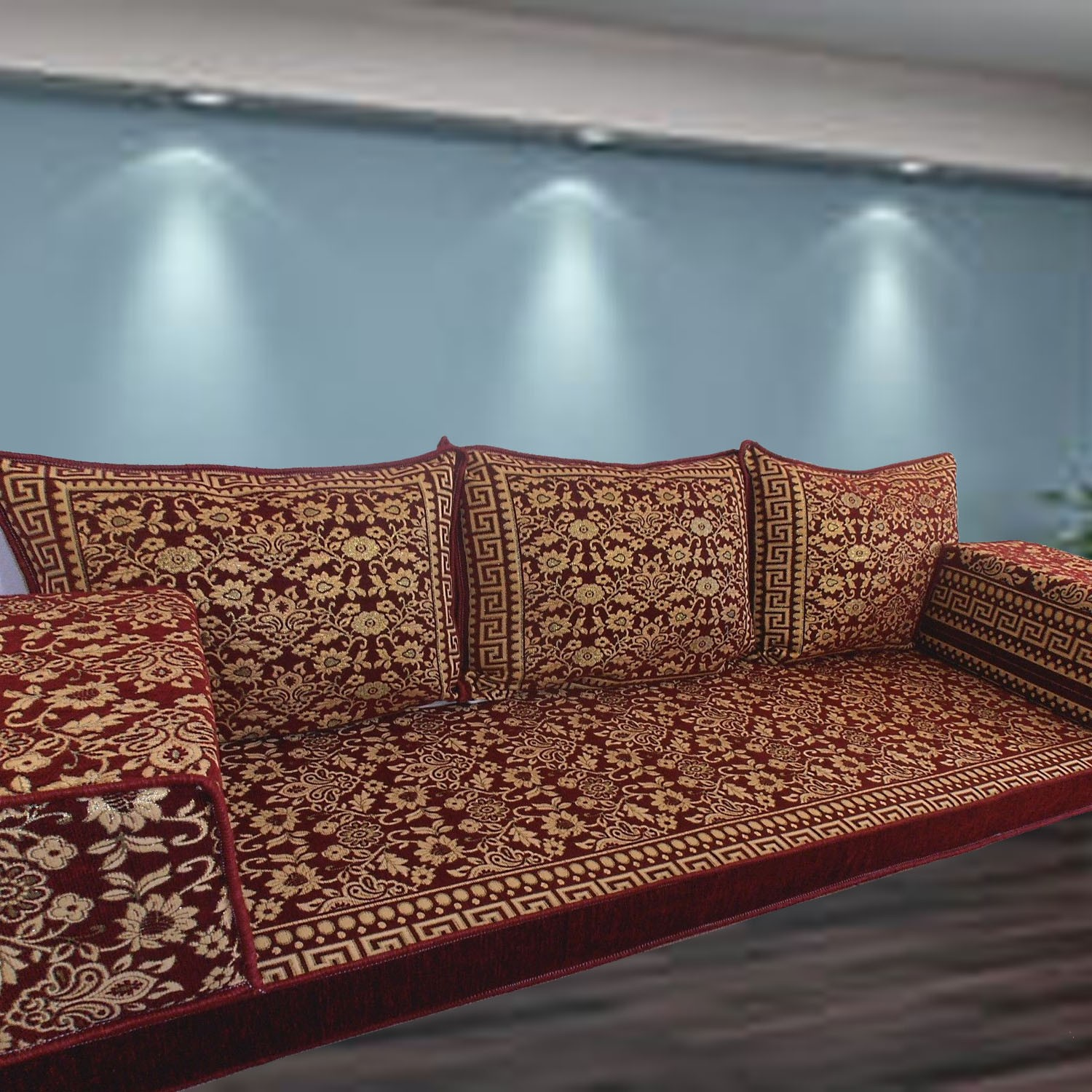 Floral-1 Three Seater Majlis Floor Sofa Couch