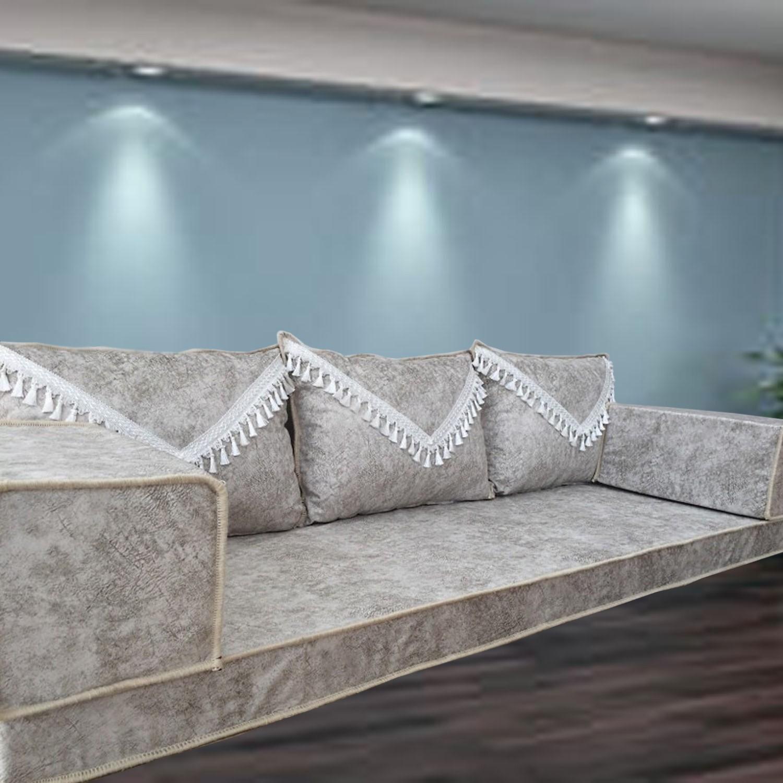 Marble Grey Light Tassel Three Seater Majlis Floor Sofa Couch