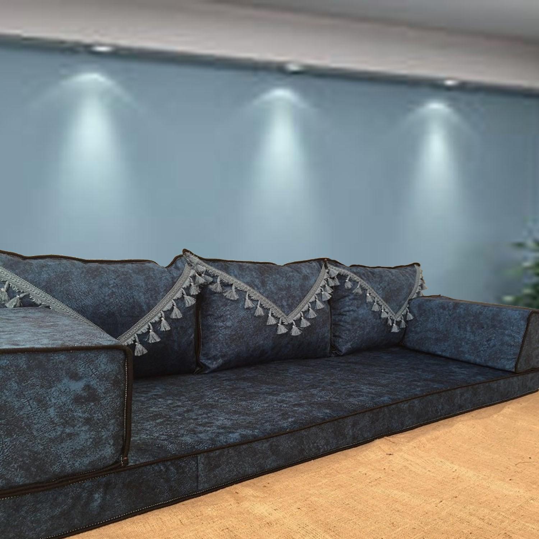 Marble Navy Tassel Three Seater Majlis Floor Sofa Couch