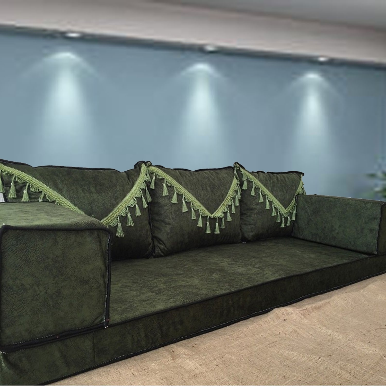 Marble Green Tassel Three Seater Majlis Floor Sofa Couch