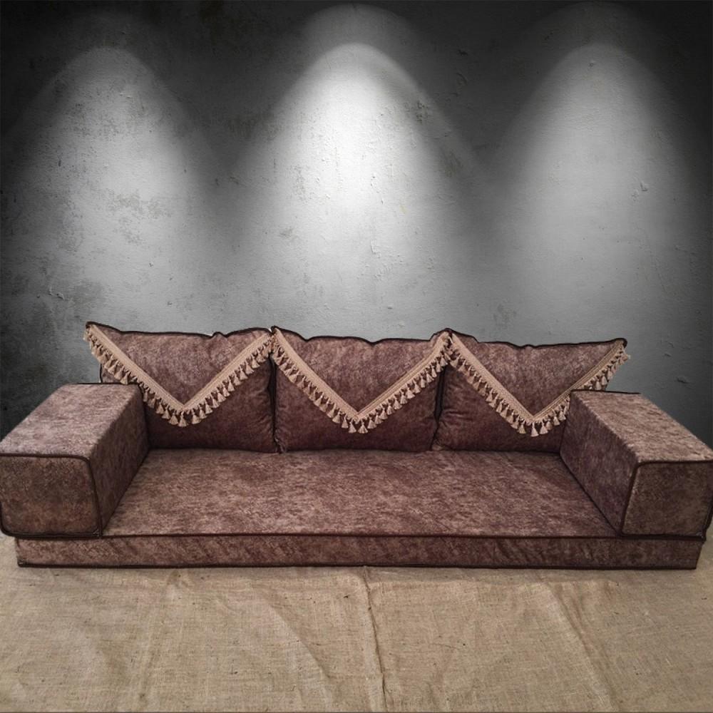 Marble Brown Tassel Three Seater Majlis Floor Sofa Couch