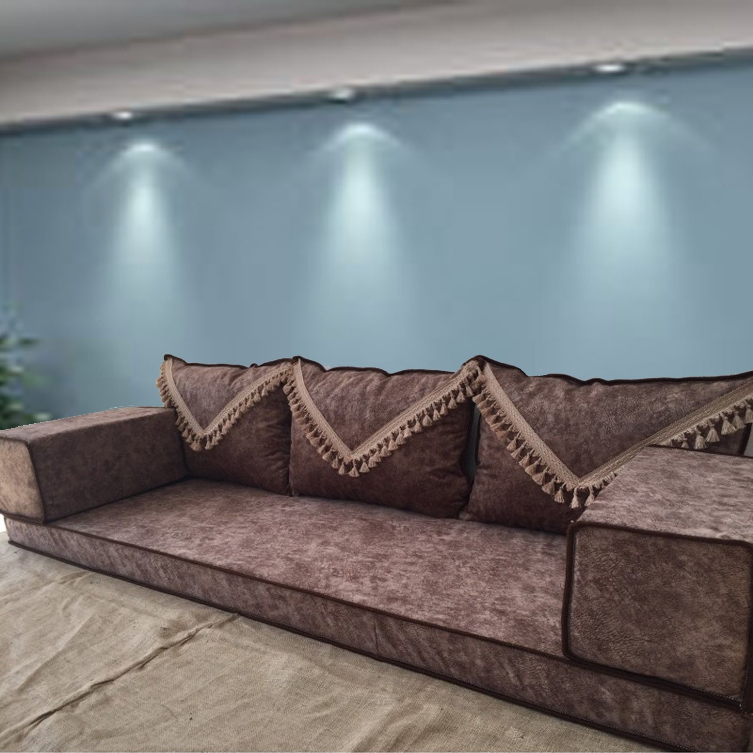 Brown floor sofa with triple back pillows - SHI_FS372
