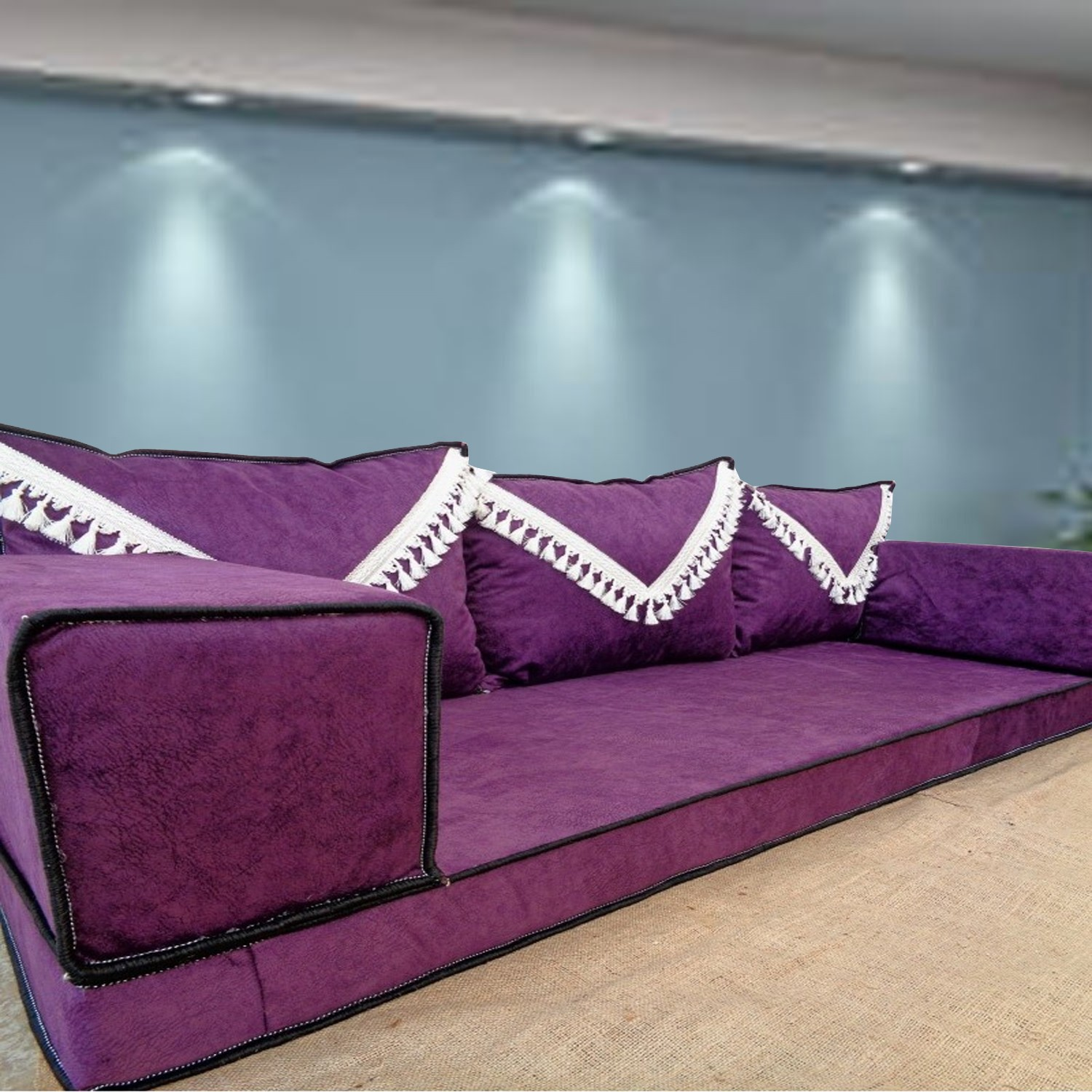 Purple floor sofa with triple back pillows - SHI_FS370