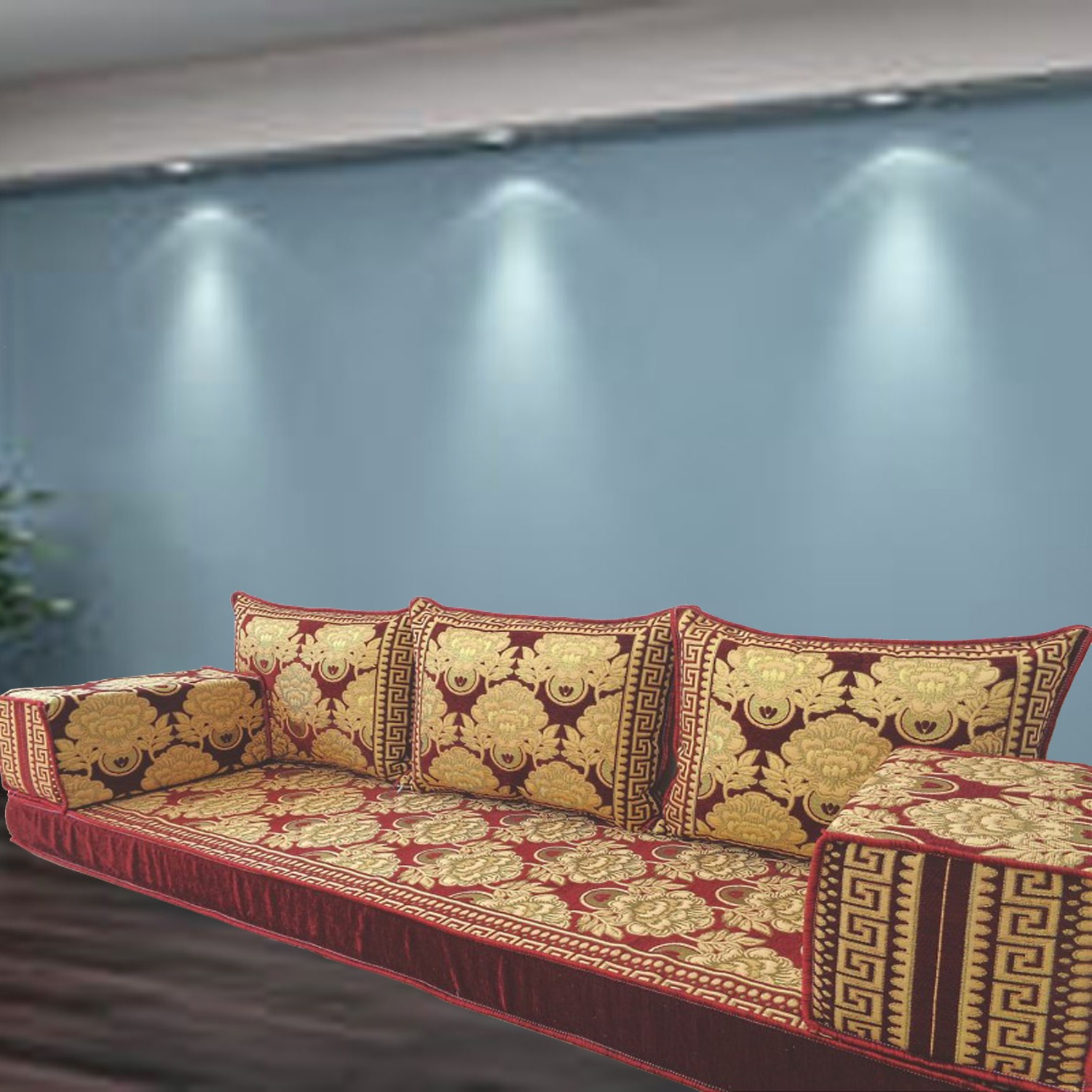 Floor sofa with triple back pillows - SHI_FS387