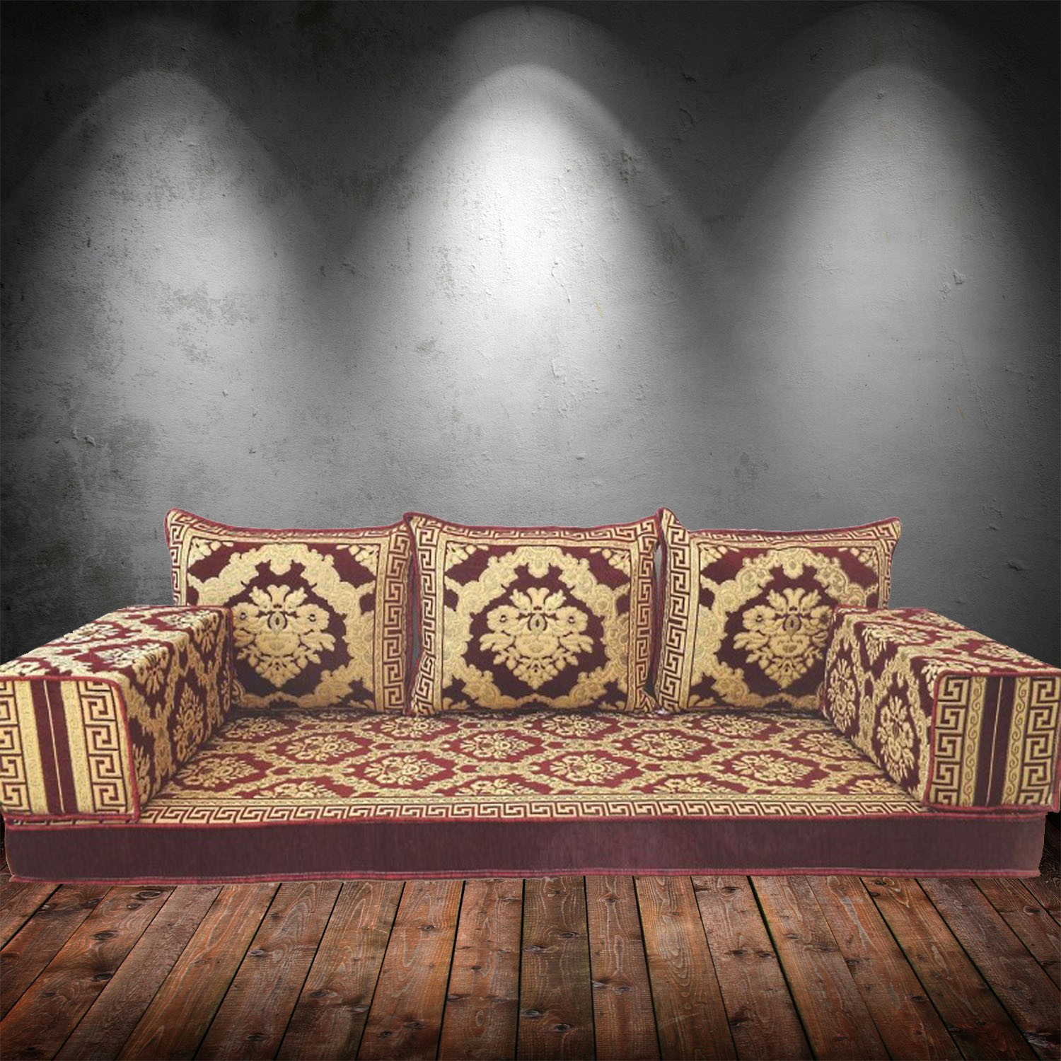 Floral-4 Three Seater Majlis Floor Sofa Couch