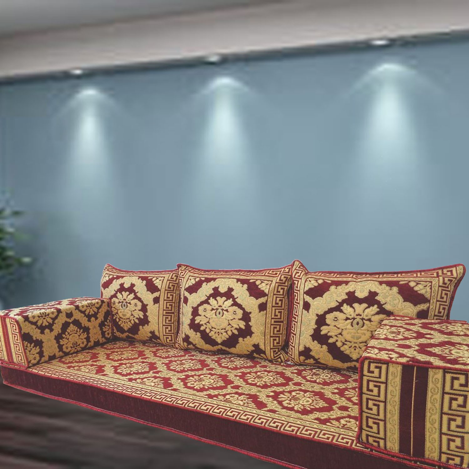 Floral-5 Three Seater Majlis Floor Sofa Couch