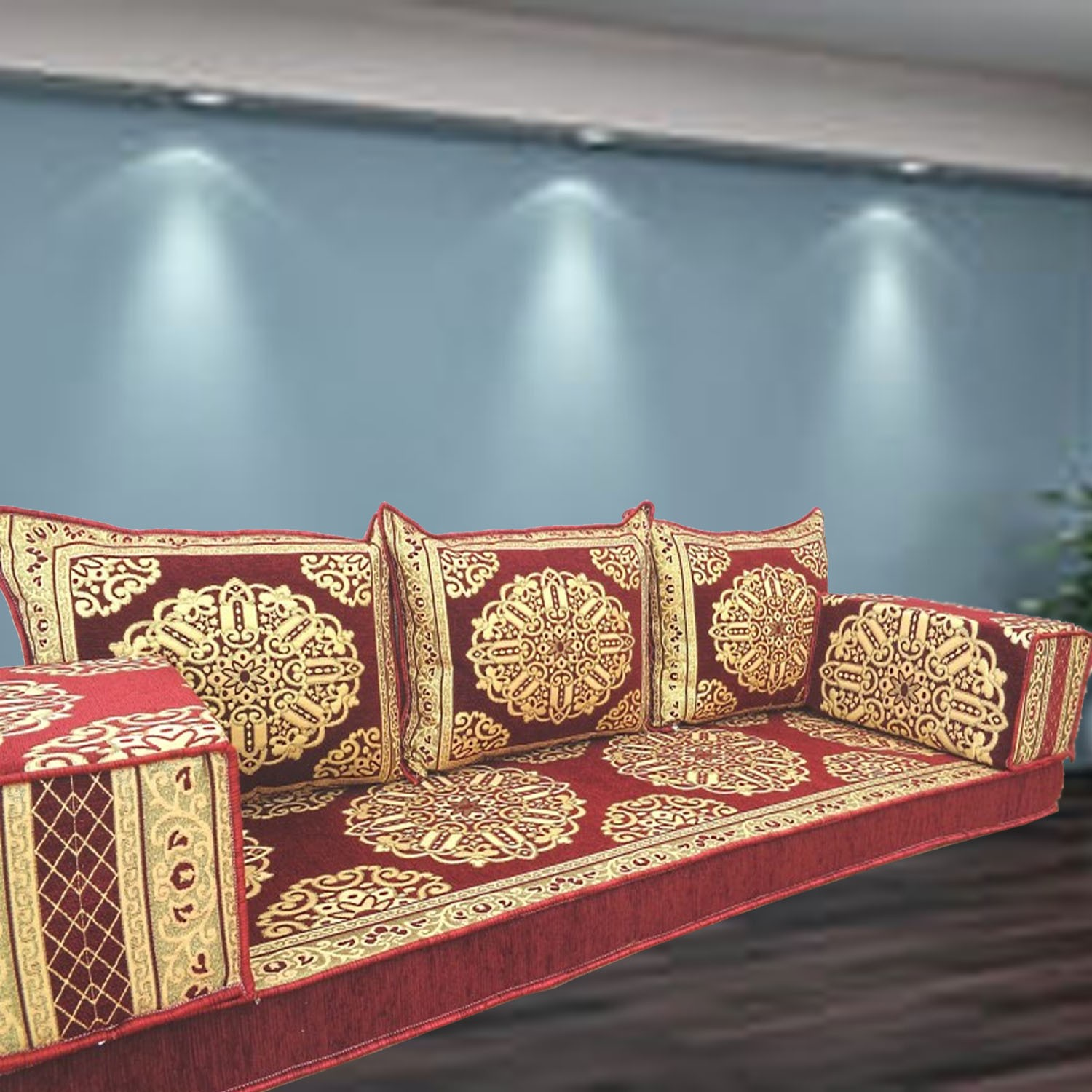 Floor sofa with triple back pillows - SHI_FS385