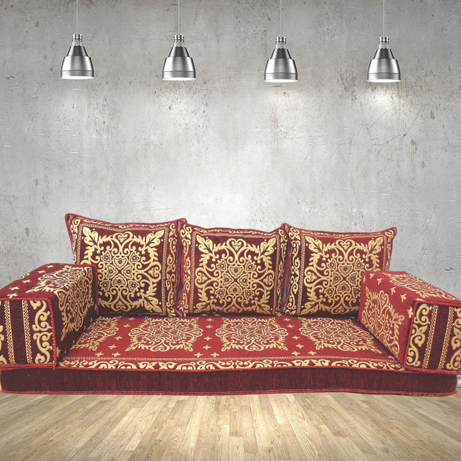 Floor sofa with triple back pillows - SHI_FS386