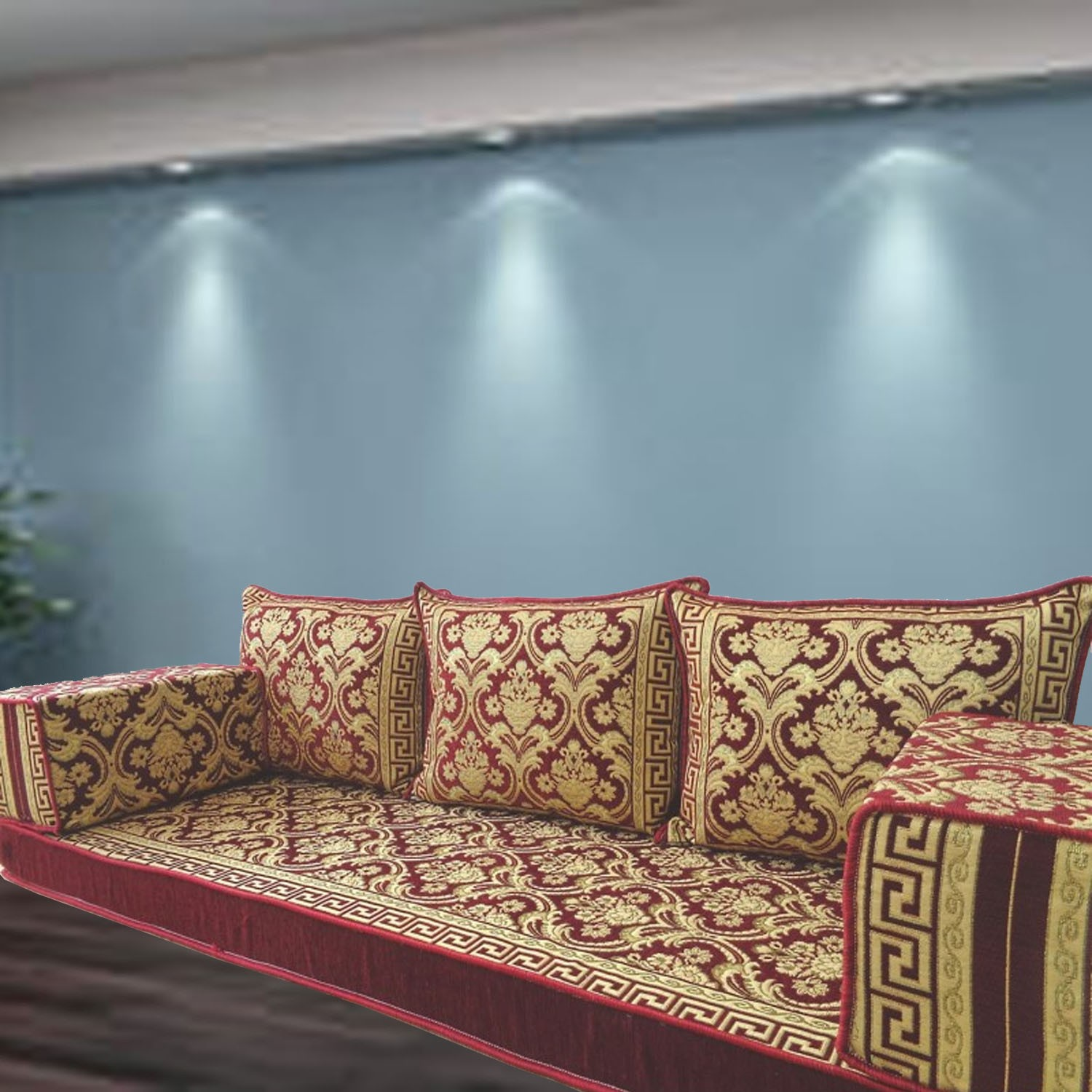 Floral-6 Three Seater Majlis Floor Sofa Couch