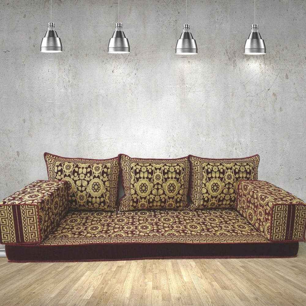 Floral-7 Three Seater Majlis Floor Sofa Couch