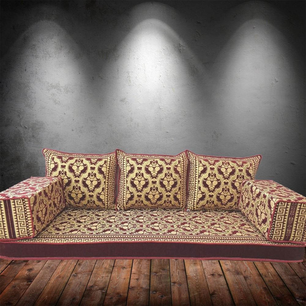 Floral-8 Three Seater Majlis Floor Sofa Couch