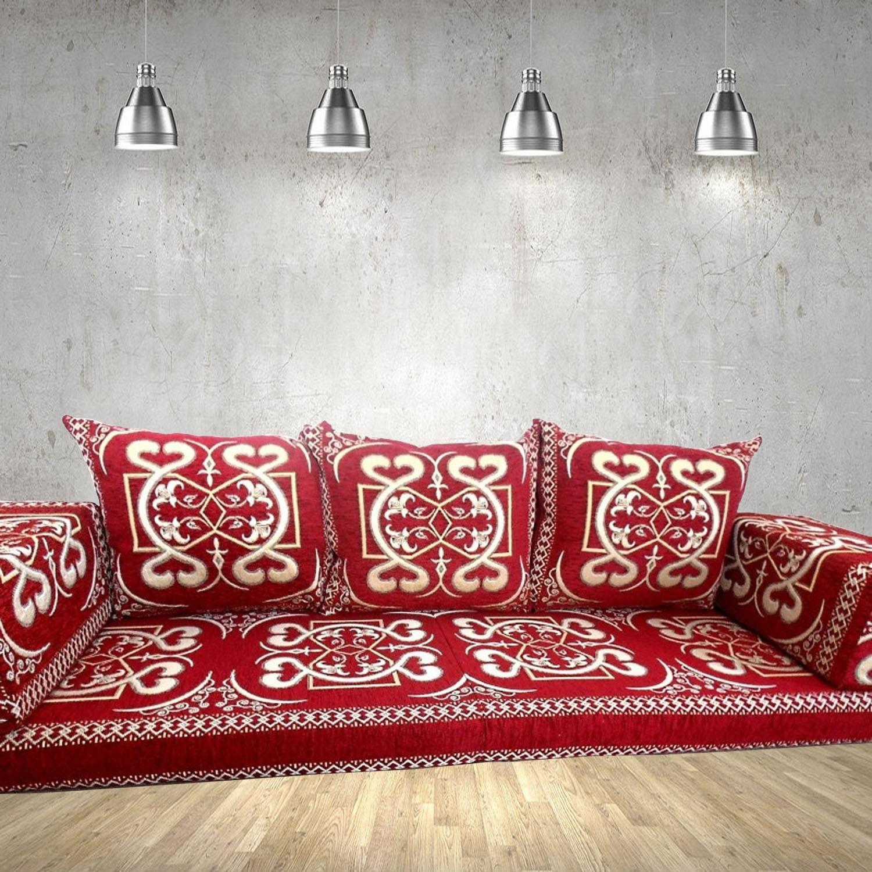 Palmera-1 Red Three Seater Majlis Floor Sofa Couch