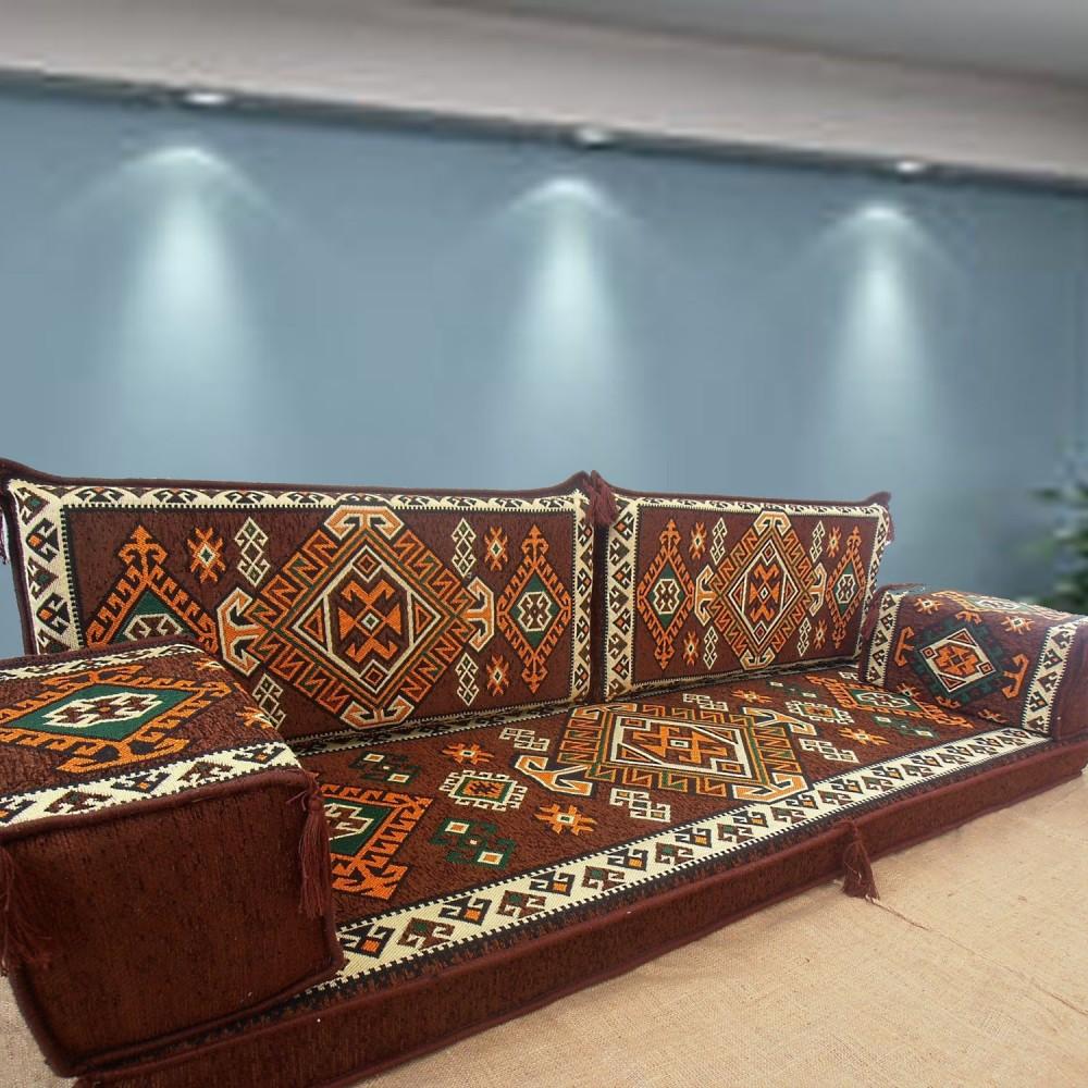 Ashur Brown Three Seater Oriental Majlis Floor Sofa Couch