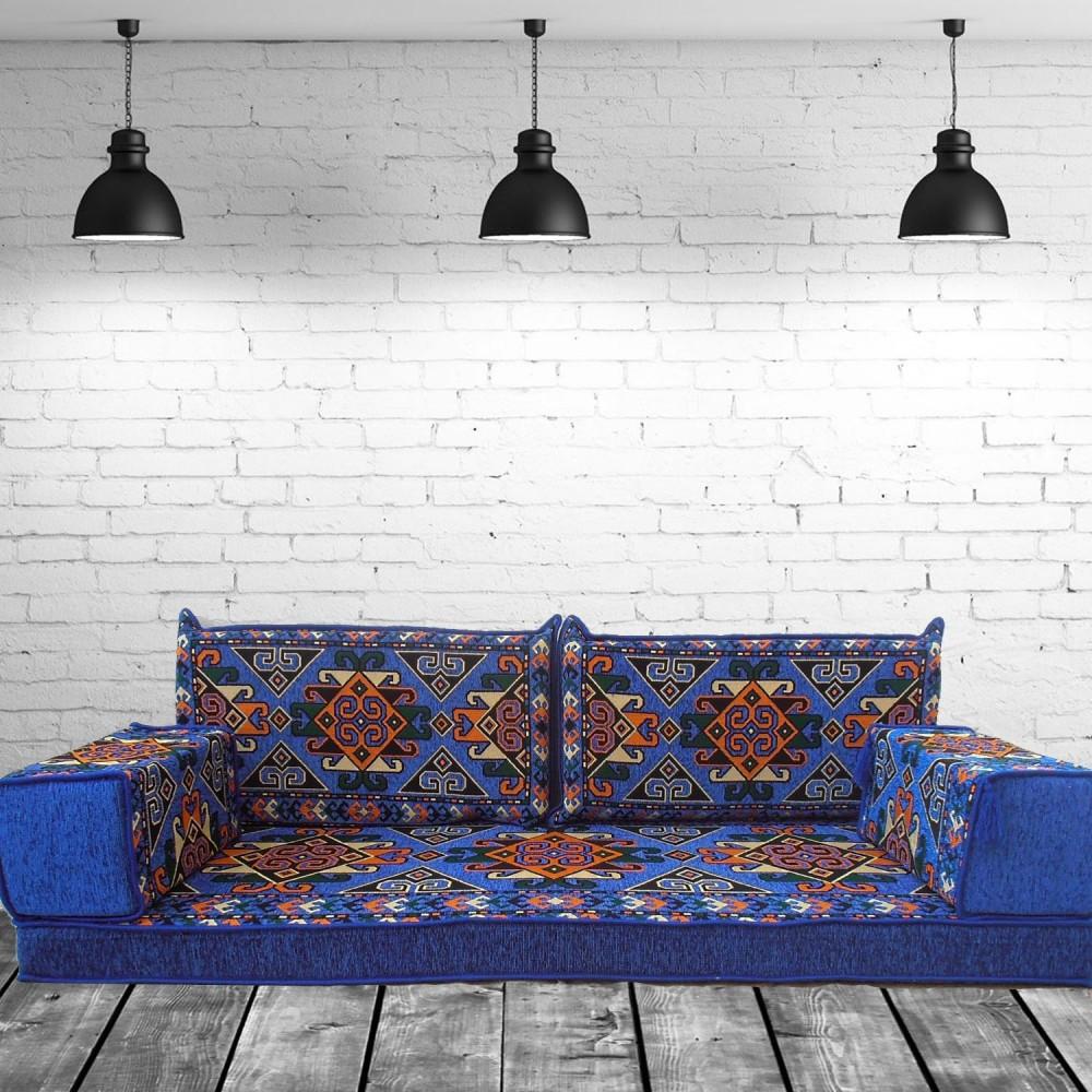 Nuzi Blue Three Seater Oriental Majlis Floor Sofa Couch
