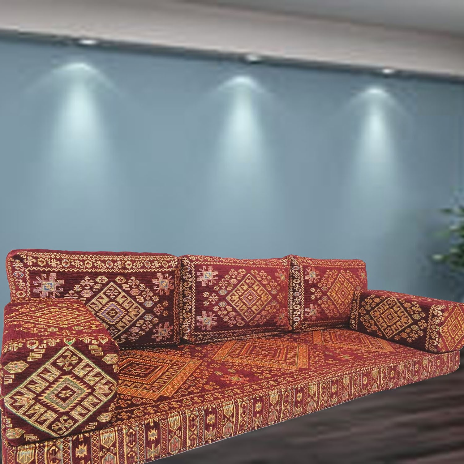 Floor sofa with triple back pillows - SHI_FS69