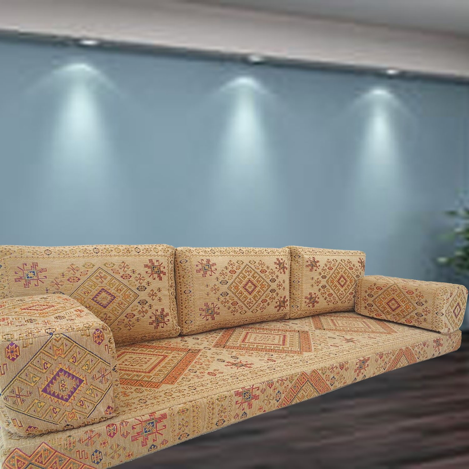 Floor sofa with triple back pillows - SHI_FS70