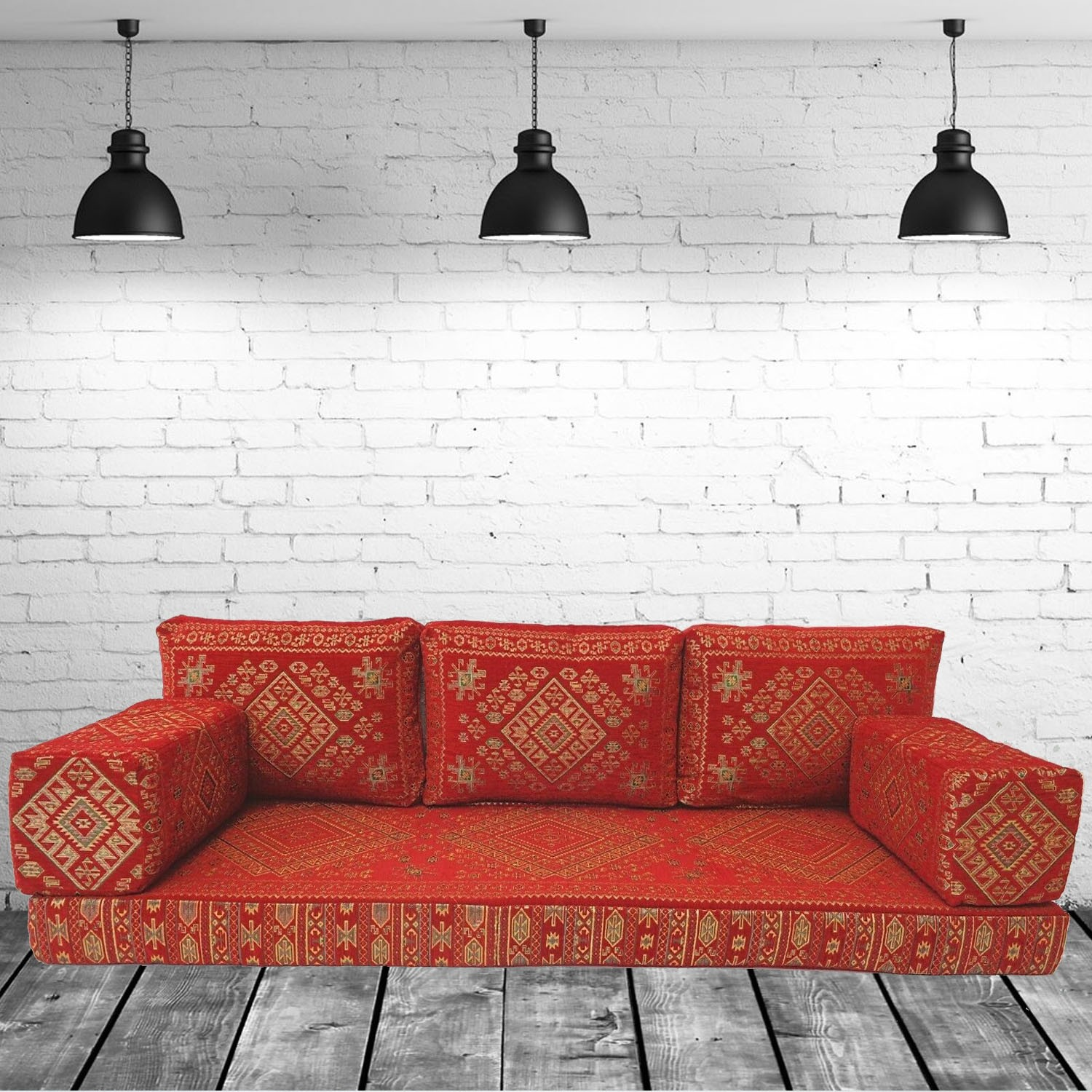 Floor sofa with triple back pillows - SHI_FS71
