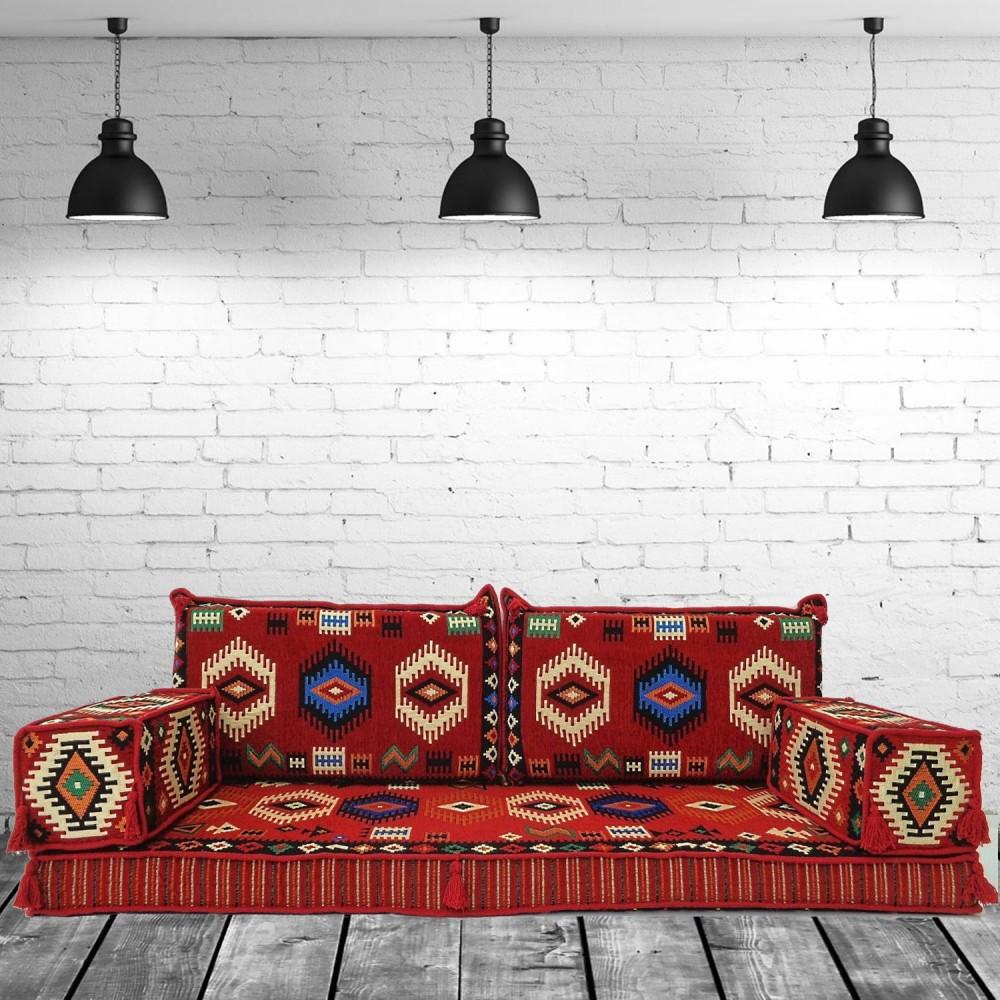 Three Seater Majlis Floor Sofa Couch Bench Cushions