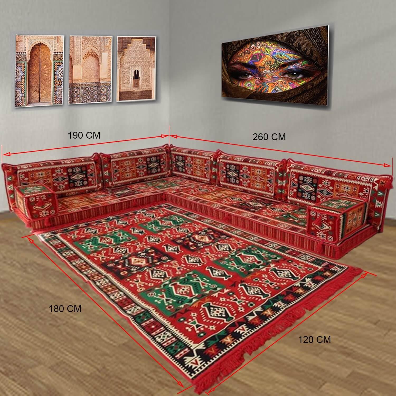 Six seater oriental majlis corner floor sofa set