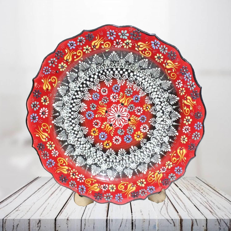 Handpainted 30 cm red ceramic plate - SHI_CP3001