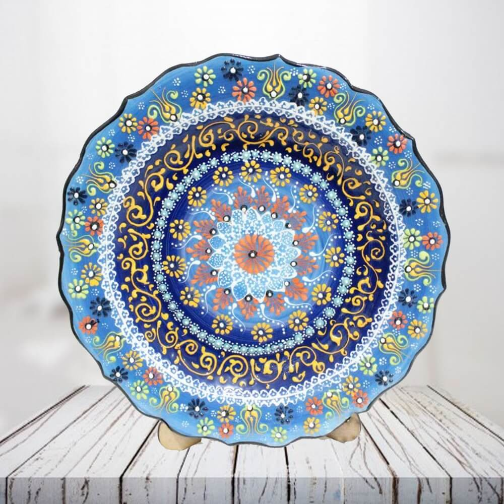 Handpainted 30 cm blue ceramic plate - SHI_CP3002