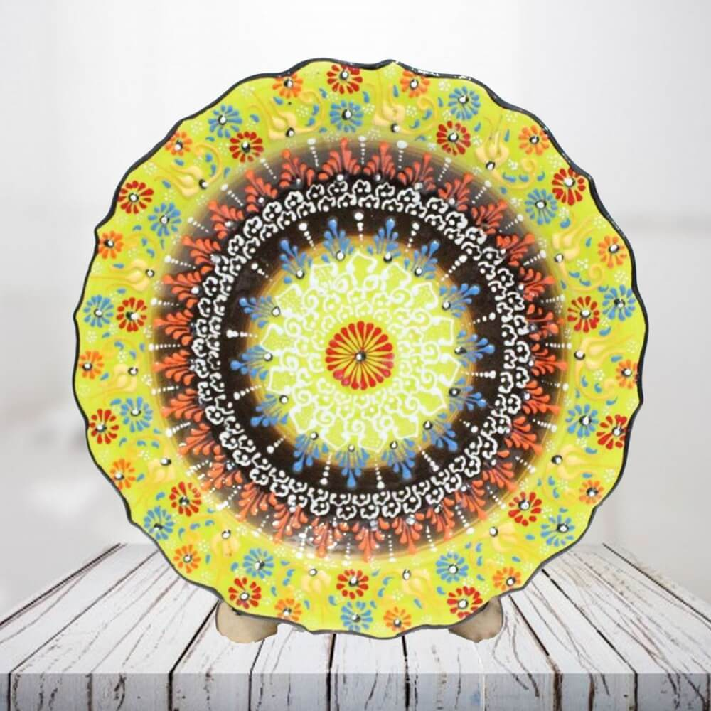 Handpainted 30 cm yellow ceramic plate - SHI_CP3004