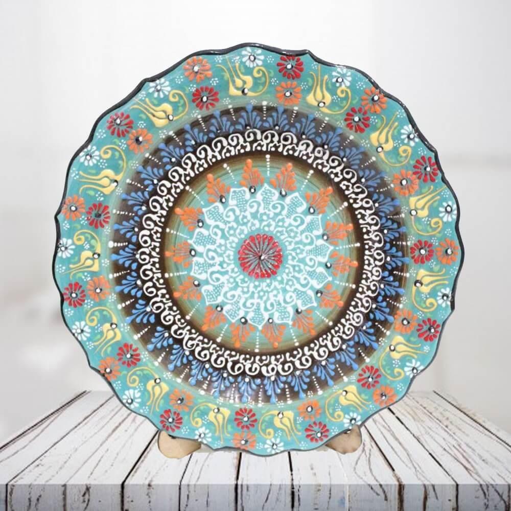 Handpainted 30 cm green ceramic plate - SHI_CP3003