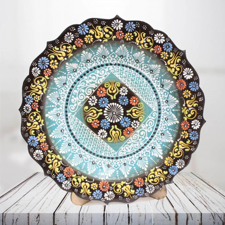 Handpainted 30 cm brown ceramic plate - SHI_CP3005