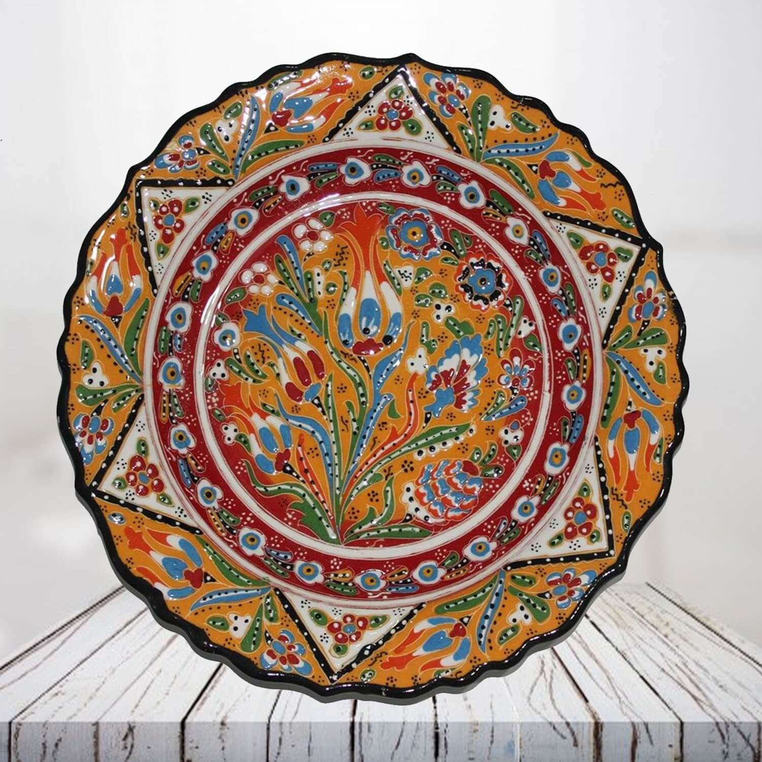 Handpainted 30 cm orange ceramic plate - SHI_CP3006