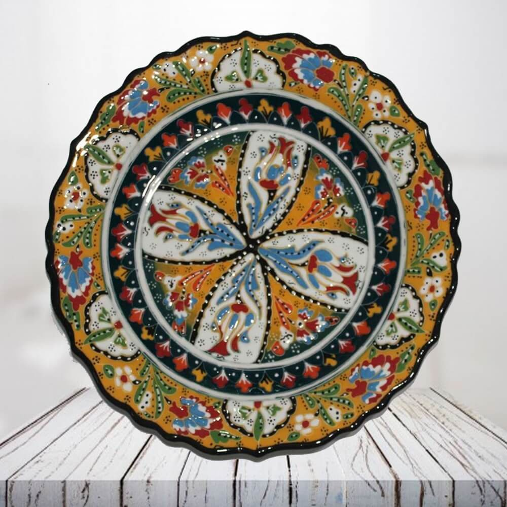 Handpainted 30 cm yellow ceramic plate - SHI_CP3007