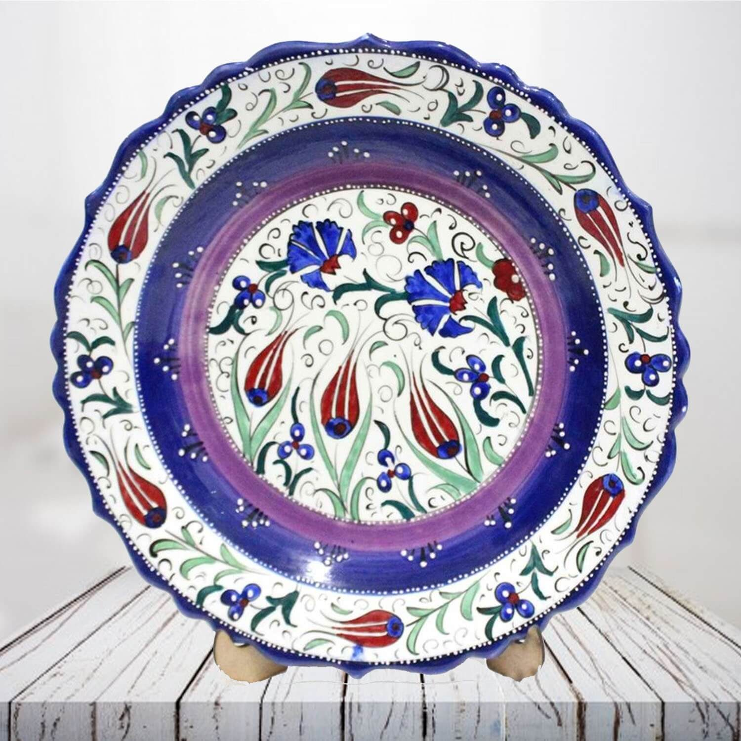Handpainted 30 cm violet ceramic plate - SHI_CP3008