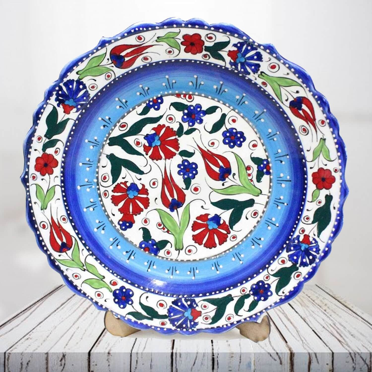 Handpainted 30 cm blue ceramic plate - SHI_CP3009