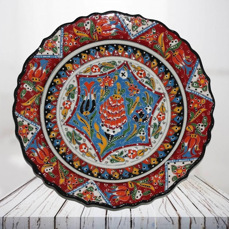 Handpainted 30 cm red ceramic plate - SHI_CP3010