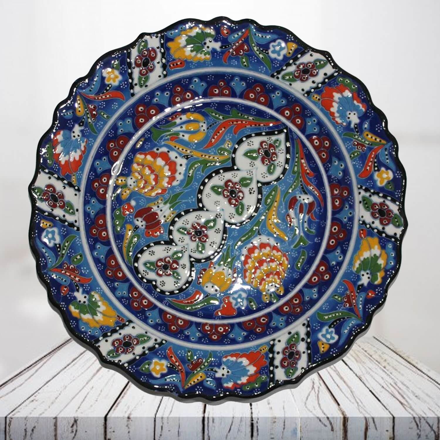 Handpainted 30 cm blue ceramic plate - SHI_CP3011