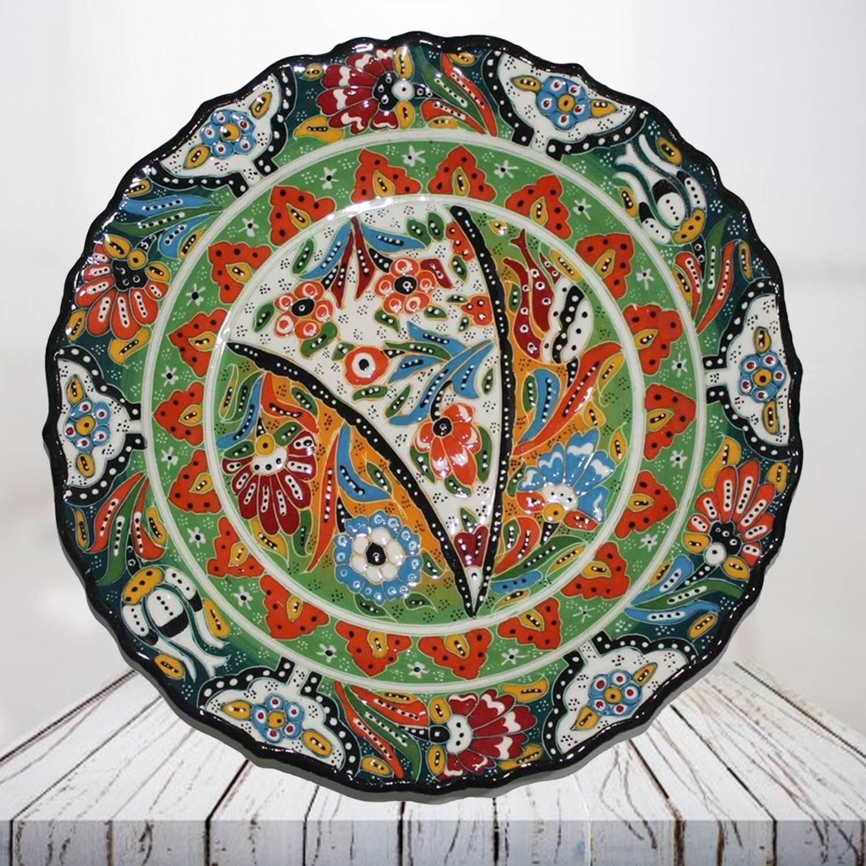 Handpainted 30 cm dark green ceramic plate - SHI_CP3012