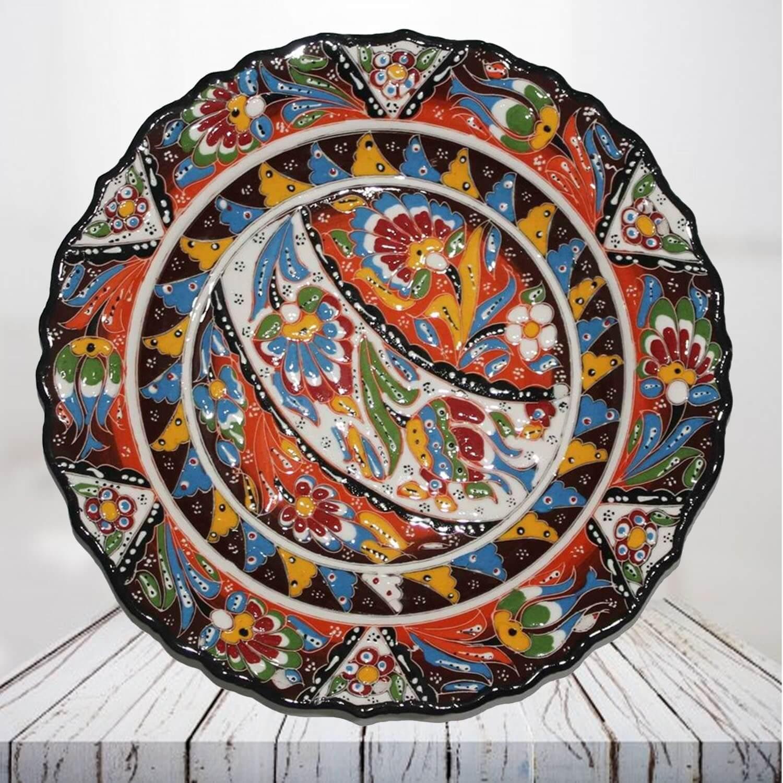 Handpainted 30 cm brown ceramic plate - SHI_CP3013