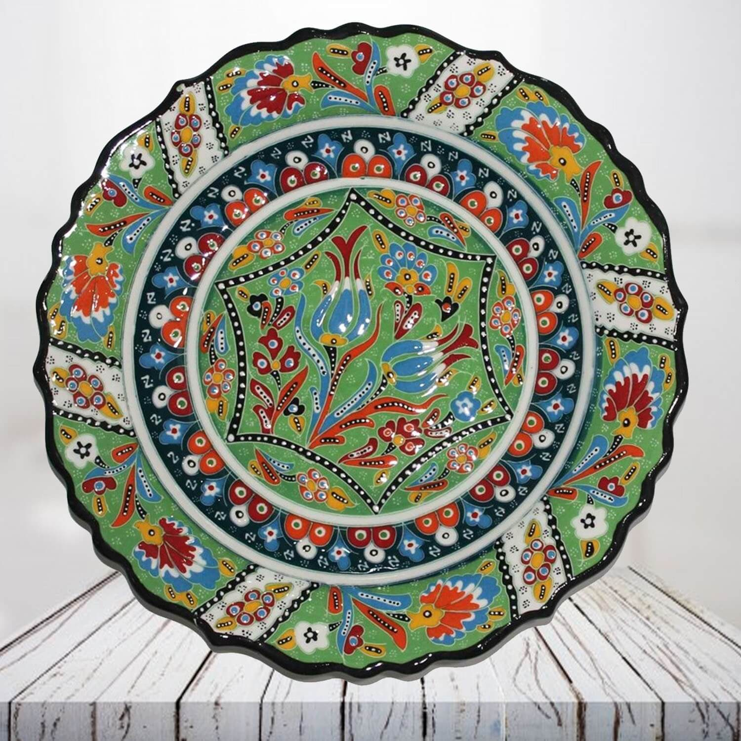 Handpainted 30 cm light green ceramic plate - SHI_CP3014