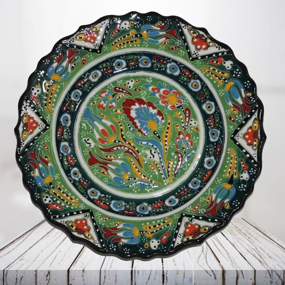 Handpainted 30 cm light green ceramic plate - SHI_CP3015