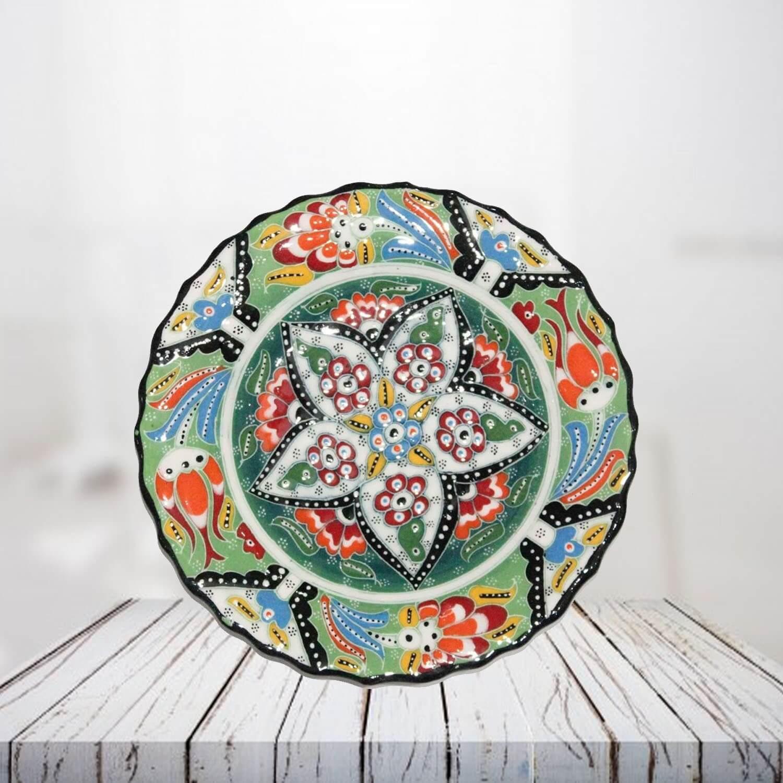 Handpainted 18 cm light green ceramic plate - SHI_CP1801