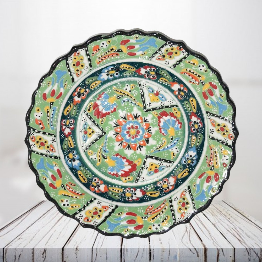 Handpainted 25 cm light green ceramic plate - SHI_CP2501