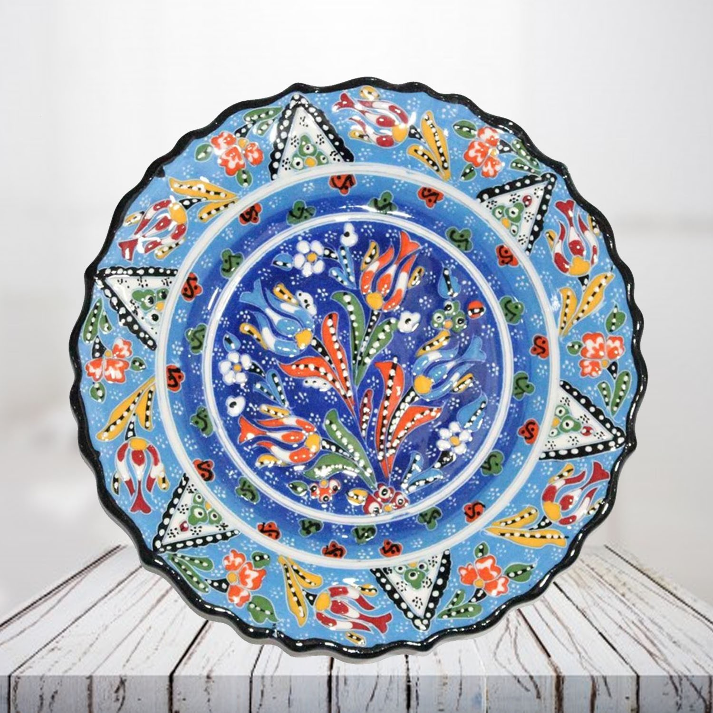 Handpainted 25 cm sea blue ceramic plate - SHI_CP2502