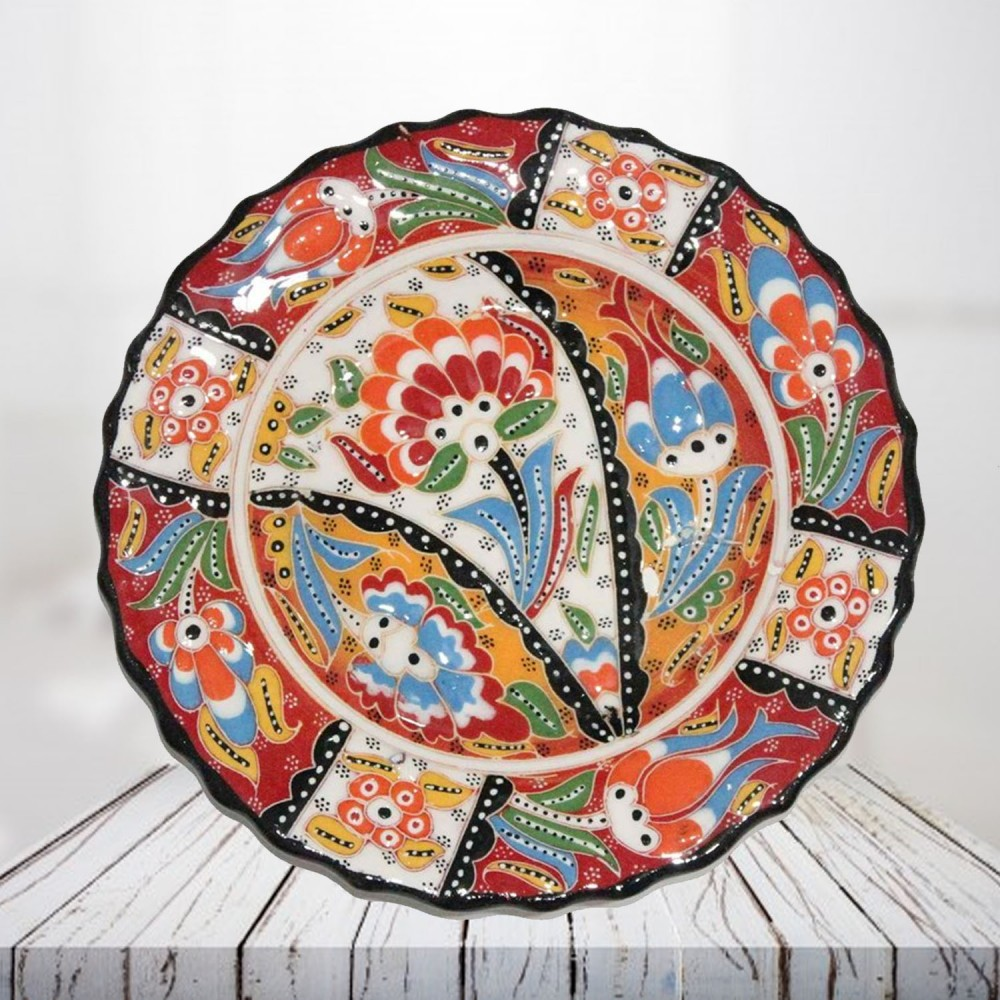 Handpainted 25 cm red ceramic plate - SHI_CP2503