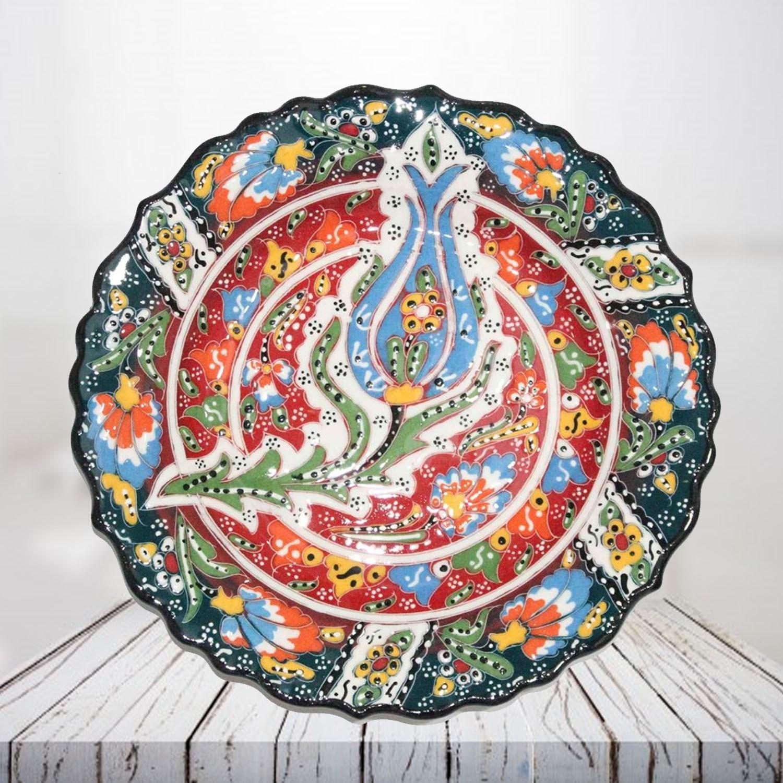 Handpainted 25 cm dark green ceramic plate - SHI_CP2504