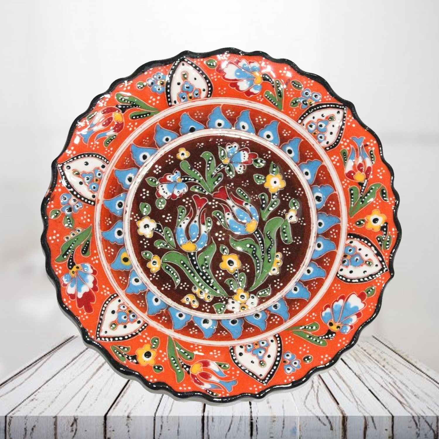 Handpainted 25 cm orange ceramic plate - SHI_CP2505